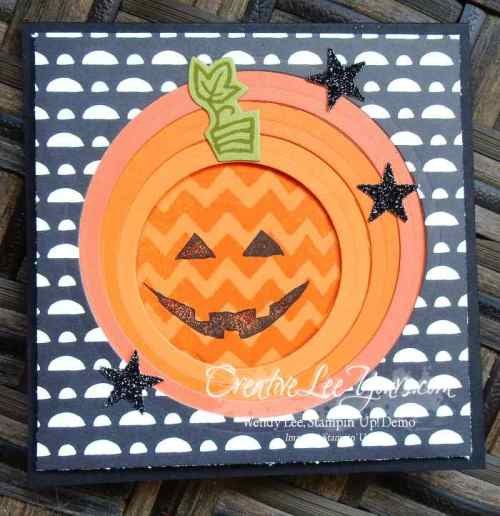 Negative Layered Die Cut Pumpkin by Wendy Lee, #creqtiveleeyours,Stampin' Up!, Sparkly Seasons