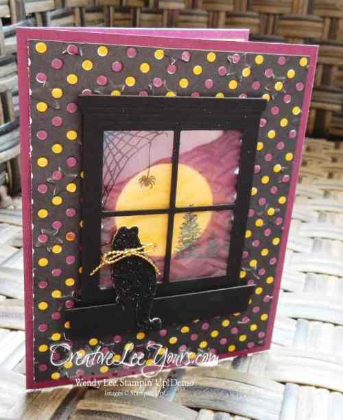 Spooky Kitty by Wendy Lee, #creativeleeyours, Stampin' Up!, sponging technique, happy scenes stamp set, festive fireside framelits, hearth & home thinlits, Halloween