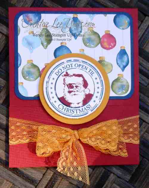 Antique Tags Santa Giftcard Holder by Wendy Lee, #creativeleeyours, Stampin' Up!, Envelope punch board, christmas