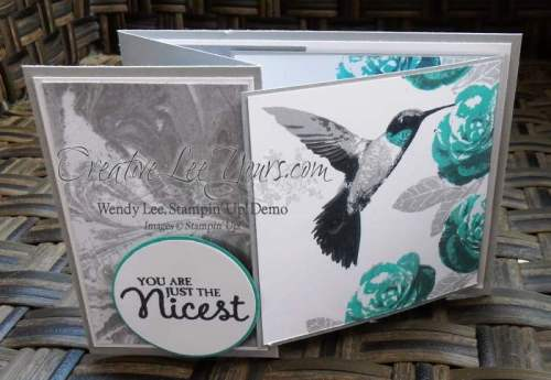 Z Fold Flap Hummingbird by Wendy Lee, Picture Perfect Stamp Set, #creativeleeyours, Stampin' Up!, Feb 2016 FMN class