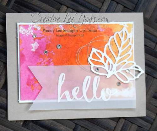 Watercolor Hello by Wendy Lee, #creativeleeyours, Stampin' Up!, February 2016 FMN class, Rose garden thinlits