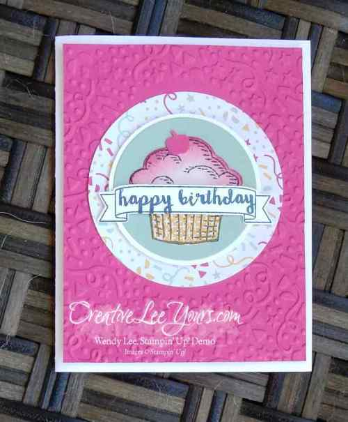 Sprinkles of Life Birthday Cupcake by Wendy Lee, #creativeleeyours, Stampin' Up!, FMN March 2016 class