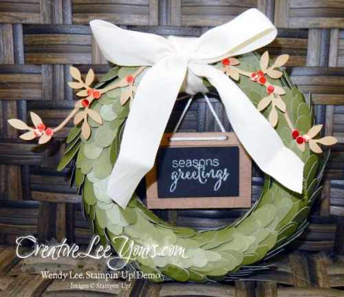 April 2016 Paper Pumpkin Lovely Little Wreath Kit by Wendy Lee, #creativeleeyours, Stampin' Up!, home decor