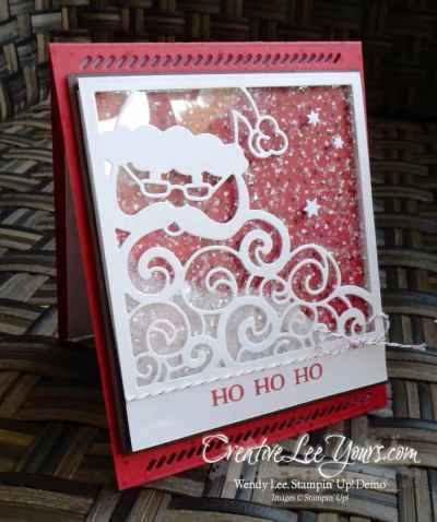 Santa Shaker Easel by Wendy Lee, Stampin Up, Holly Jolly Greetings stamp set, Oh, What Fun stamp set, Detailed santa Thinlits, #creativeleeyours, Hand Made Christmas Cards