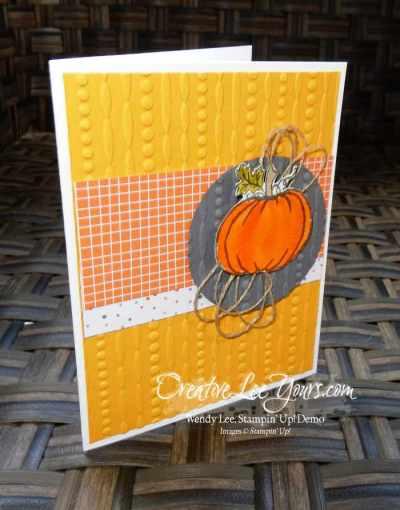 Festive Pumpkin by Stephanie Daniel, Stampin Up, Jar of Haunts stamp set, cable knit embossing folder, #creativeleeyours, Hand Made Christmas Cards, Diemonds team swap