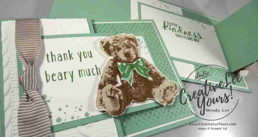 Thank you bear by wendy lee, Stampin Up, Baby Bear stamp set, timeless textures stamp set, Kinda Eclectic stamp set, #creativeleeyours, December 2016 FMN class, hand made card