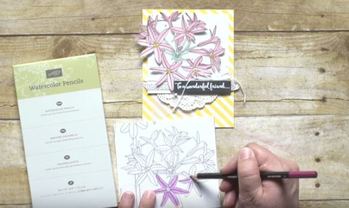 Inside the Lines Specialty Designer Series Paper, watercolor pencils, Stampin Up, wendy Lee, #creativeleeyours, #SAB2017