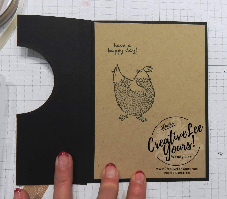 Cut Out Window Fun Fold by Wendy Lee, Stampin Up, #creativeleeyours, Hey Chick stamp set, #SAB2017, hand made card