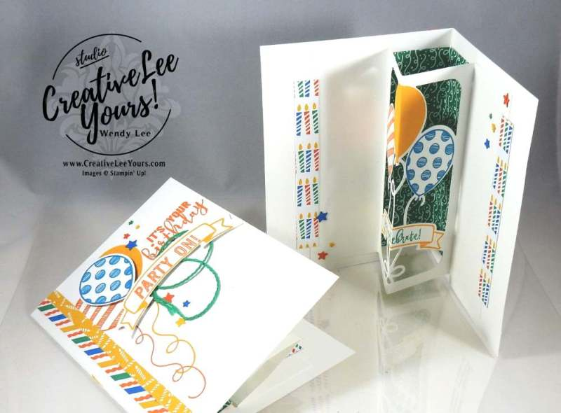 Party On Pop-Up by Wendy Lee, Stampin Up, #creativeleeyours, Balloon Adventure stamp set, Birthday Bright stamp set, Balloon pop-up thinlits, January 2017 FMN class, Hand made birthday card