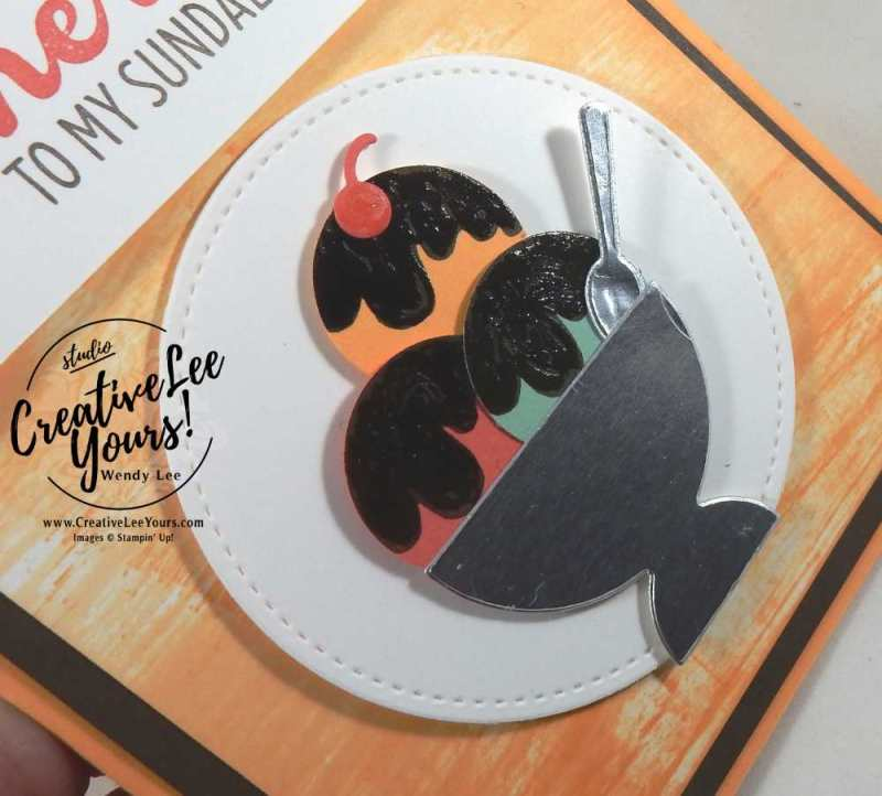 Cherry on my sundae by wendy lee, Stampin Up, #creativeleeyours, Cool treats stamp set, frozen treats framelits, peekabo peach ombre pad, NC demos, hand made card