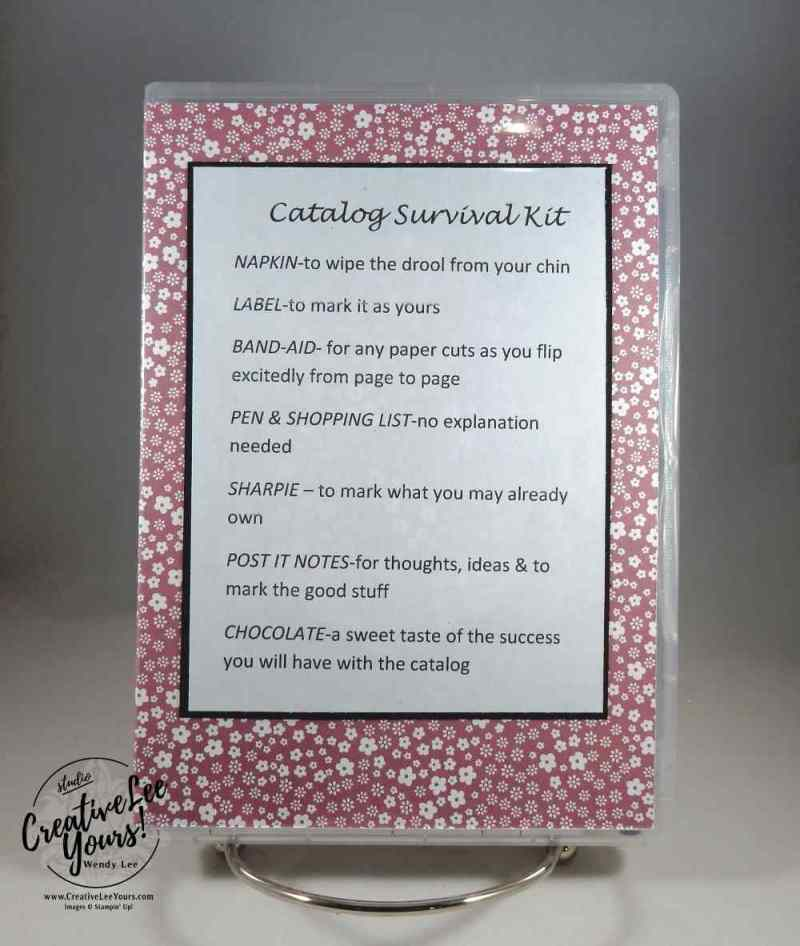 New Catalog Survival Kits by Wendy Lee, Stampin Up, #creativeleeyours, creatively yours, April 2017 On Stage, Diemonds team gifts, stamp cases, 2016-2018 in-color paper stacks