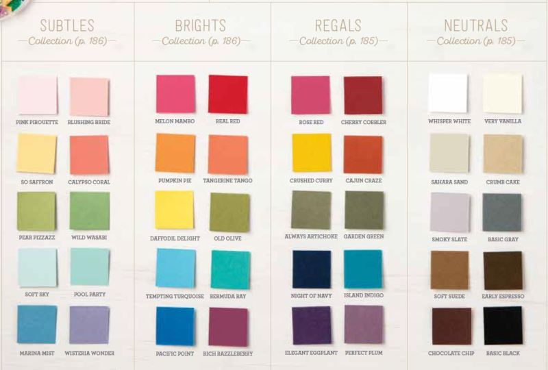 2017-2018 new catalog color collection, core colors, Stampin Up, #creativeleeyours, creatively yours, wendy lee