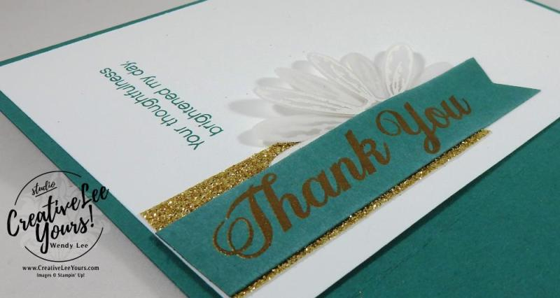 Embossed Daisies by Wendy Lee, Stampin Up, #creativeleeyours, creatively yours, stamping, rubber stamps, hand made card, daisy delight stamp set, daisy punch,banner triple punch, June 2017 FMN class
