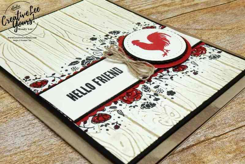 Hello Friend by Wendy Lee, wood words stamp set, pinewood planks embossing folder, layering circles framelits, stitched shapes framelits, stampin up 2017 thailand incentive trip, wendy lee, #creativeleeyours, creatively yours, demonstrator rewards