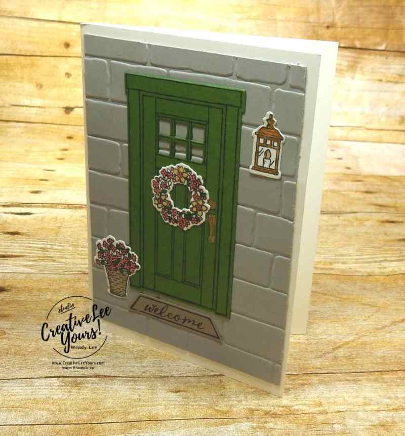 Spring doorway by Pam Lawson, Wendy Lee, creatively yours, creative-lee yours, Stampin Up, stamping, handmade, SU, #creativeleeyours, At Home with You Stamp Set,At Home Framelits Dies,diemonds team swap