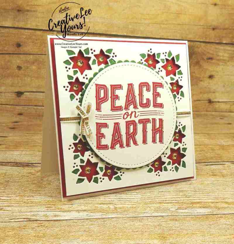 Peace on Earth Poinsettia by wendy lee, stampin Up,stamping rubber stamps, carols of christmas stamp set, card front builder thinlits, handmade christmas card