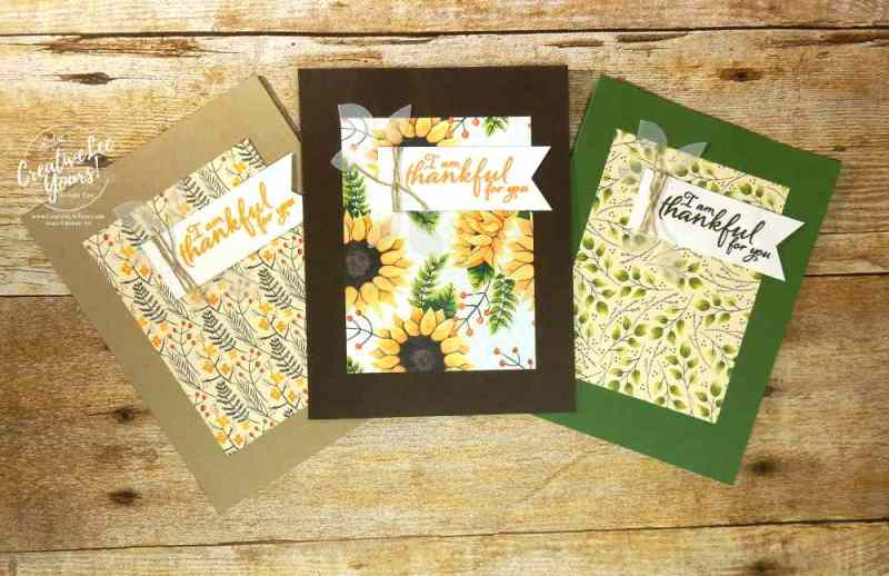 Simple Thank You with Wendy Lee, Stampin Up, Thailand incentive trip make n take,painted harvest stamp set, handmade fal card, stamping,rubber stamps, sunflowers, painted autumn, quick and easy cards, #creativeleeyours, creatively yours