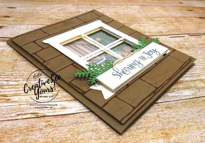Sharing the Joy Window by Wendy Lee, stampin up, #creativeleeyours, creatively yours, stamping, hand made, holiday cards, christmas cards,ready for christmas stamp set, christmas staircase thinlits, hearth and home framelits,FMN card class,rubber stamps