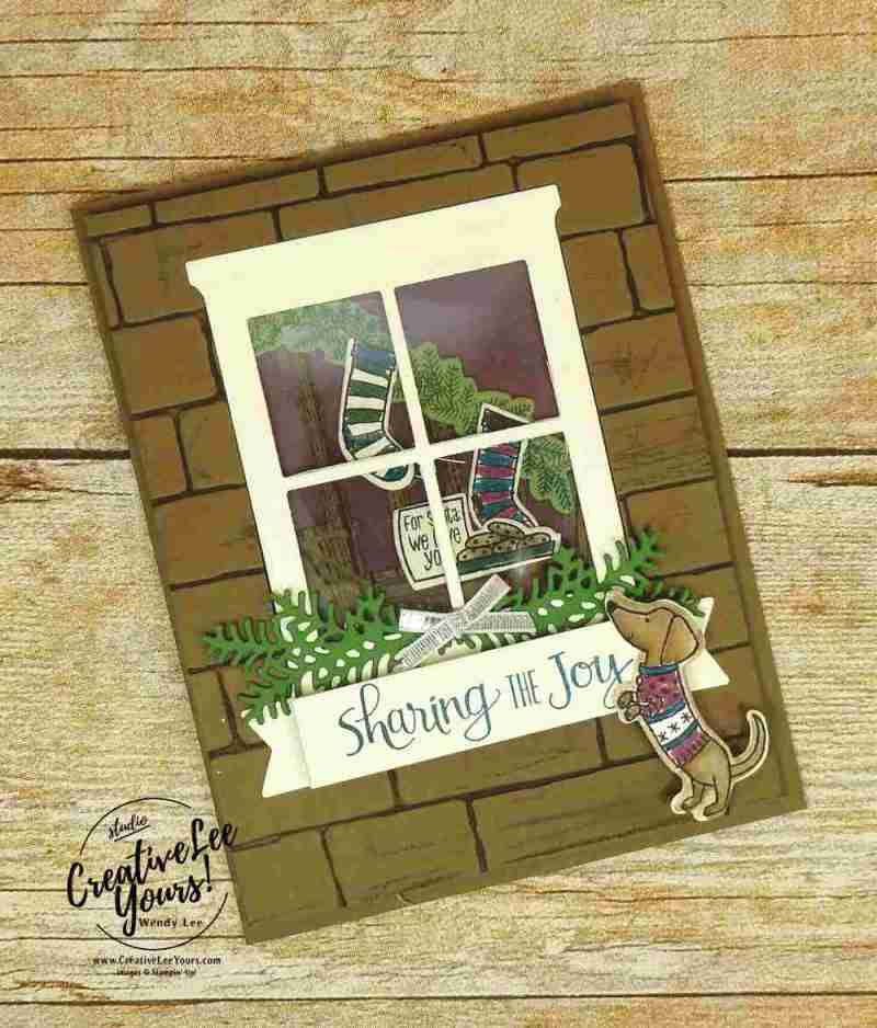Peeking Puppy by Wendy Lee, stampin up, #creativeleeyours, creatively yours, stamping, hand made, holiday cards, christmas cards,ready for christmas stamp set, christmas staircase thinlits, hearth and home framelits,,rubber stamps