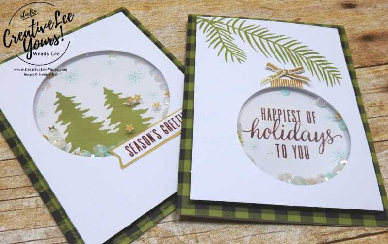 October 2017 Pining For Plaid Paper Pumpkin Kit by wendy lee, shaker christmas cards, handmade, stamping, masculine, Stampin Up,#creativeleeyours, creatively yours, fast and easy, simple