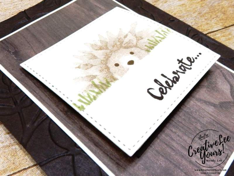 Hedgehog Single Waterfall by Wendy Lee, stamping, handmade, autumn harvest stamp set,stitched shapes Framelits,fun fold,,november 2017 fmn class,#creativeleeyours, creatively yours,stampin up, birthday