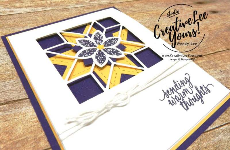 Quilted Birthday by Wendy Lee, stampin up,#creativeleeyours,creatively yours, christmas quilt stamp set,hug in a mug stamp set,handmade,stamping,paper quilt,card,december 2017 fmn class
