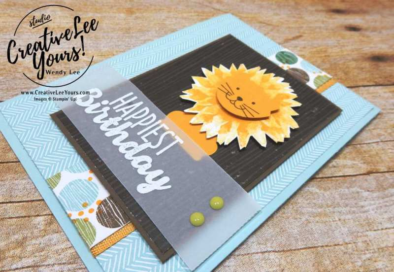 Birthday Lion by Wendy Lee, stampin Up, Painted harvest stamp set, fox builder punch,foxy friends stamp set,masculine birthday card, stamping,#creativeleeyours,handmade,punch art