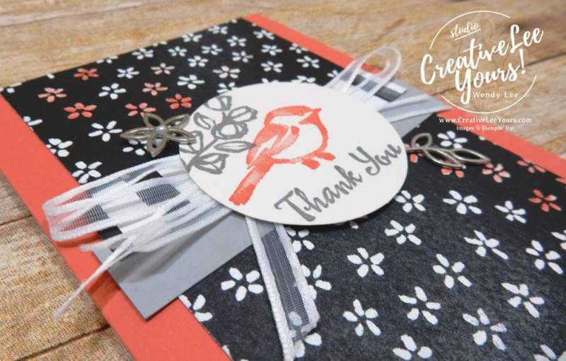 Birdie Thank You with Wendy Lee,stampin up, stamping,#creativeleeyours, creatively yours, rubber stamps, petal palette stamp set,thank you card,handmade,november 2017 on stage