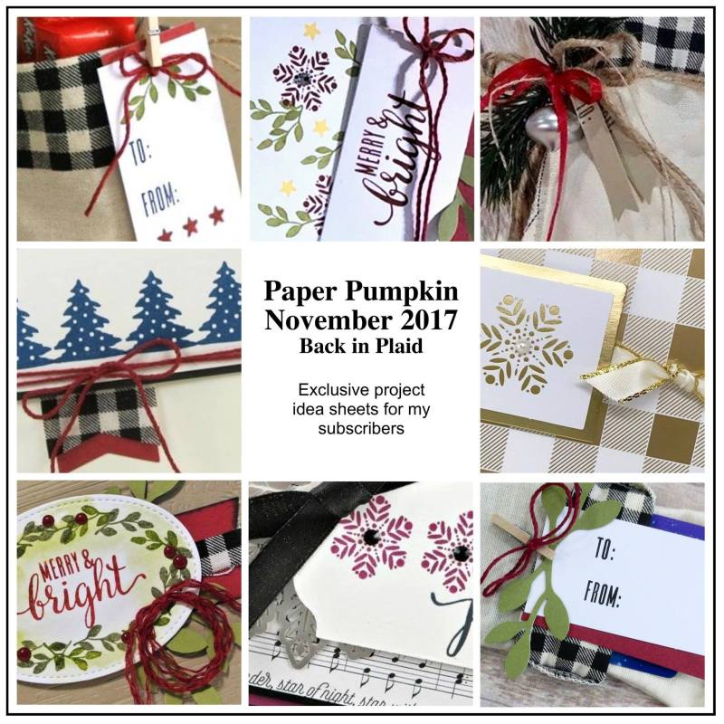 November 2017 Back in Plaid Paper Pumpkin Kit by wendy lee, stampin up, handmade cards, rubber stamps, stamping, kit, subscription, holiday cards