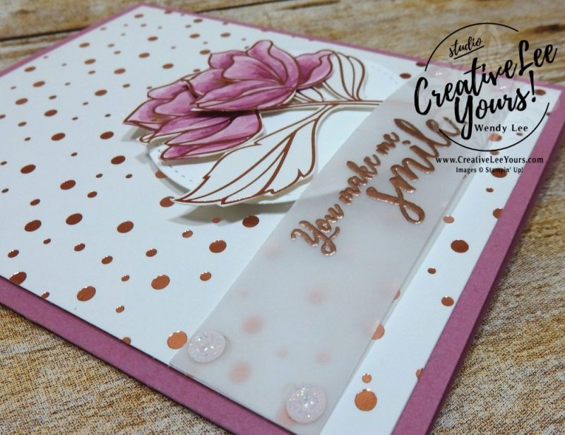 You Make Me Smile by wendy lee, springtime foils DSP,SAB,Sale-a-bration, Stampin up, handmade, stamping, #creativeleeyours, creatively yours, creative-lee yours,Kylie bertucci, International Highlights Winners Blog Hop, friend, teacher appreciation, mom,birthday,stampin blends,watercoloring,embossing, SU,SU cards,FREE printable tutorial