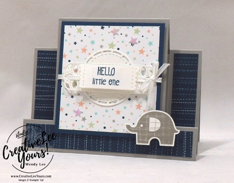 Little Elephant by wendy lee, Stampin Up, stamping, handmade card, friend, thank you, birthday, #creativeleeyours, creatively yours, creative-lee yours, splitcoast stampers, little elephant stamp set, fun fold, SU, SU cards, rubber stamps, gift card holder, baby, tutorial, video, stitched labels framelits