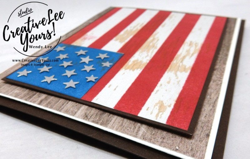 Pallet Flag Wendy Lee, stampin up, papercrafting, #creativeleeyours, creativelyyours, creative-lee yous, SU, #loveitchopit, wood words stamp set, cardmaking, handmade card, rubber stamps, stamping, stampin up, SU cards, birthday, at home with you, stamp set, thank you, friend, paper share, 4th of july