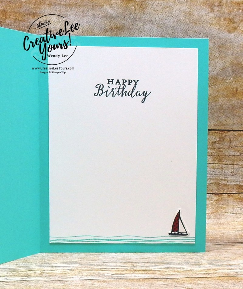 Nautical Birthday by wendy lee, Stampin Up, stamping, handmade card, friend, thank you, birthday, #creativeleeyours, creatively yours, creative-lee yours, July 2018 FMN card class, forget me not, lilypad lake stamp set, SU, SU cards, rubber stamps, lakeside framelits, masculine