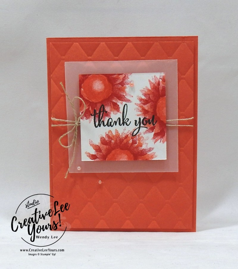 Tufted Thank You by wendy lee, cardmaking, handmade card, rubber stamps, stamping, stampin up, wendy Lee, #creativeleeyours, creatively yours, creative-lee yours, SU, SU cards, birthday, painted harvest stamp set, love what you do stamp set, thank you, friend, 2-step stamping