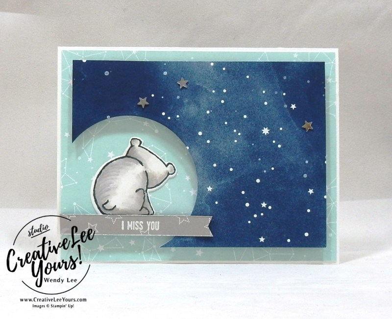 I Miss You by Wendy Lee,Go For Greece blog hop, kylie bertucci, cardmaking, handmade card, rubber stamps, stamping, stampin up, #creativeleeyours, creatively yours, creative-lee yours, SU, SU cards, incentive trip, a little wild stamp set, cut out window, twinkle twinkle, baby