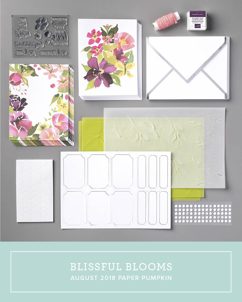 August 2018 Blissful Blooms Paper Pumpkin Kit by wendy lee, stampin up, handmade cards, rubber stamps, stamping, kit, subscription, #creativeleeyours, creatively yours, creative-lee yours, birthday, friend, thank you, congrats, video, bonus tutorial