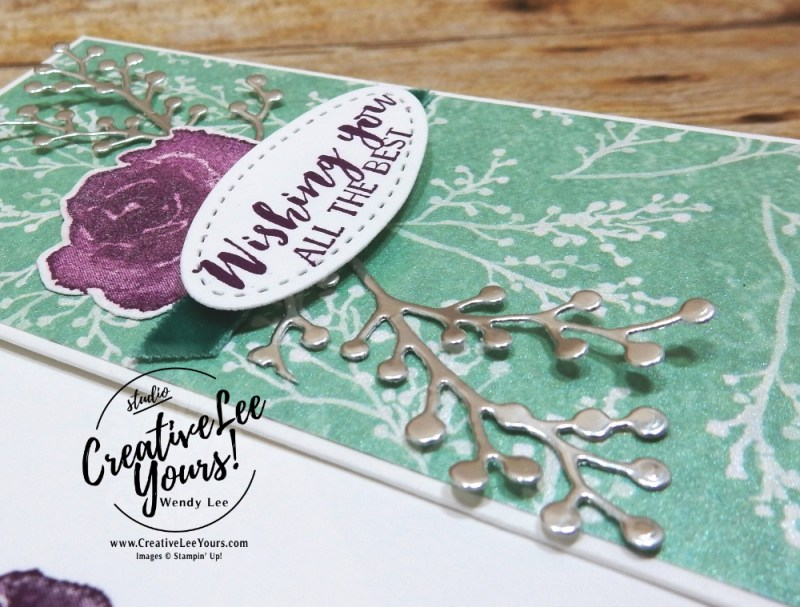 Pearlized All the Best by wendy lee, Stampin Up, stamping, handmade card, friend, thank you, birthday, wedding, #creativeleeyours, creatively yours, creative-lee yours, floral card, SU, SU cards, rubber stamps, paper crafting, all occasions, printable tutorial, first frost stamp set, holiday catalog sneak peek