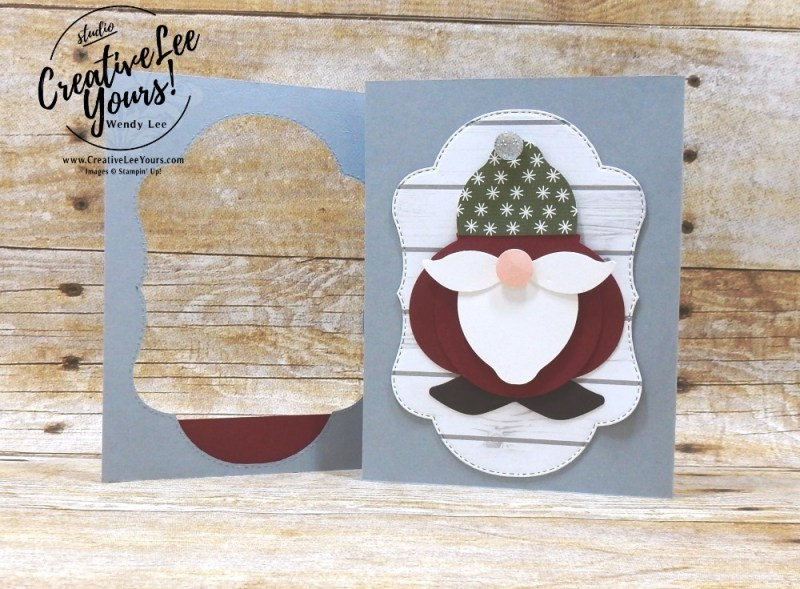 Punch Art Santa by wendy lee, Stampin Up, stamping, handmade card, friend, thank you, birthday, #creativeleeyours, creatively yours, creative-lee yours, blended seasons, punch art, SU, SU cards, rubber stamps,color your season promotion, paper crafting, limited time, all occasions, flowers, leaves, stitched seasons framelits, free tutorial