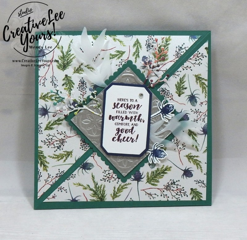 Season of Warmth Easel fun fold by Jennifer Moretz, wendy lee, Stampin Up, stamping, handmade card, #creativeleeyours, creatively yours, creative-lee yours, diemonds team, first frost stamp set, SU, SU cards, rubber stamps, demonstrator,DIY, frosted bouquet, christmas, easel card, winter flowers, business opportunity