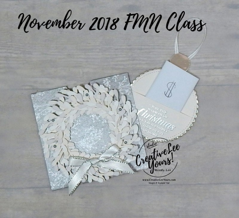 Spring Wreath $ Holder by wendy lee, November 2018 FMN Class, Forget me not, Stampin Up, stamping, handmade card, holiday, christmas, #creativeleeyours, creatively yours, creative-lee yours, SU, SU cards, rubber stamps, paper crafting, timeless tidings stamp set,Merry Christmas, Happy Holidays, DIY, card club, money holder, gift card, ornament, sprig punch, embossing