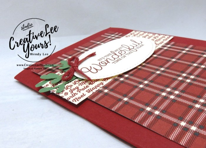 November 2018 To You and Yours Paper Pumpkin Kit by wendy lee, stampin up, handmade cards, rubber stamps, stamping, kit, subscription, #creativeleeyours, creatively yours, creative-lee yours, holiday, christmas, alternate, bonus tutorial, fast & easy, DIY, plaid, masculine, #simplestamping, December 2018 FMN class, card club