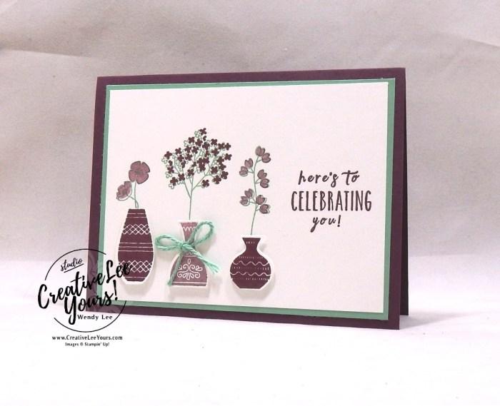Celebrating You by courtney reisig, Diemonds team swap, Stampin Up, stamping, handmade card, #creativeleeyours, creatively yours, creative-lee yours, SU, SU cards, rubber stamps, paper crafting, varied vases stamp set,celebration, DIY, vase builder punch, #simplestamping