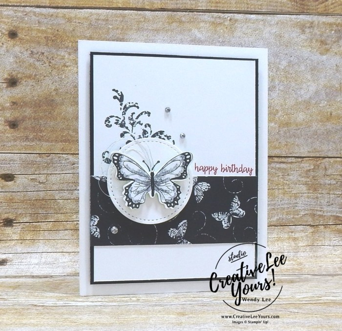 Botanical Butterfly Birthday by wendy lee, Stampin Up, stamping, handmade card, friend, thank you, birthday, #creativeleeyours, creatively yours, creative-lee yours, SU, SU cards, rubber stamps, demonstrator, business, DIY, cling stamps, butterfly gala, black and white, fast & easy, incentive trip, butterfly punch,diemonds team swap, printable tutorial, #simplestamping
