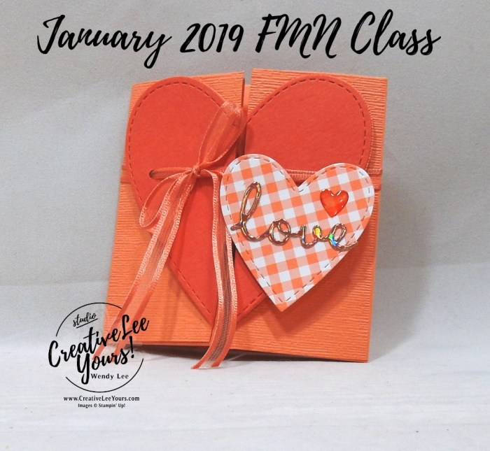 Love Heart Envelope Fun Fold by Wendy Lee, Tutorial, card club,stampin Up, SU, #creativeleeyours, hand made card, fun fold, love, anniversary, valentine, hearts, gingham, stamping, creatively yours, creative-lee yours,well said stamp set, well written framelits, DIY, FMN, forget me knot, January 2019, class