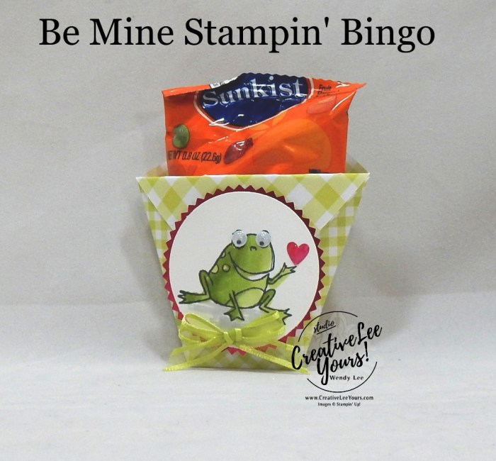 Hoppy Love Diaper Fold by Wendy Lee, Tutorial, be mine stampin bingo, stampin Up, SU, #creativeleeyours, hand made card, love, anniversary, valentine, hearts, friend, stamping, creatively yours, creative-lee yours, so hoppy together stamp set, DIY, class, game, tutorial, #simplestamping, treat pouch