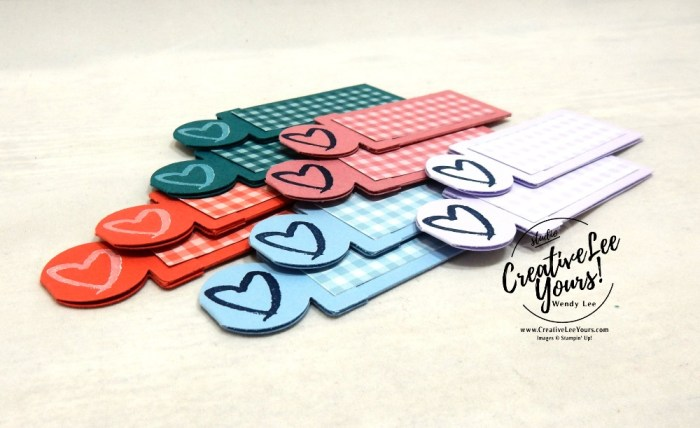 In-Color Bookmark/Catalog Tabs by wendy lee, Stampin Up, #creativeleeyours, creatively yours, creative-lee yours, stamping, paper crafting, handmade, all occasion, a good man stamp set, DSP, patternpaper, catalog kick off, in-colors, tutorial, tab punch