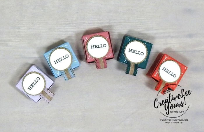 Itty Bitty Pop Up Treat Boxes by wendy lee, Stampin Up, #creativeleeyours, creatively yours, creative-lee yours, stamping, paper crafting, handmade, all occasion, candy treat, 3D, class, friend, free as a bird stamp set, stamp set, embossing, DSP, patternpaper, catalog kick off, in-colors, tutorial
