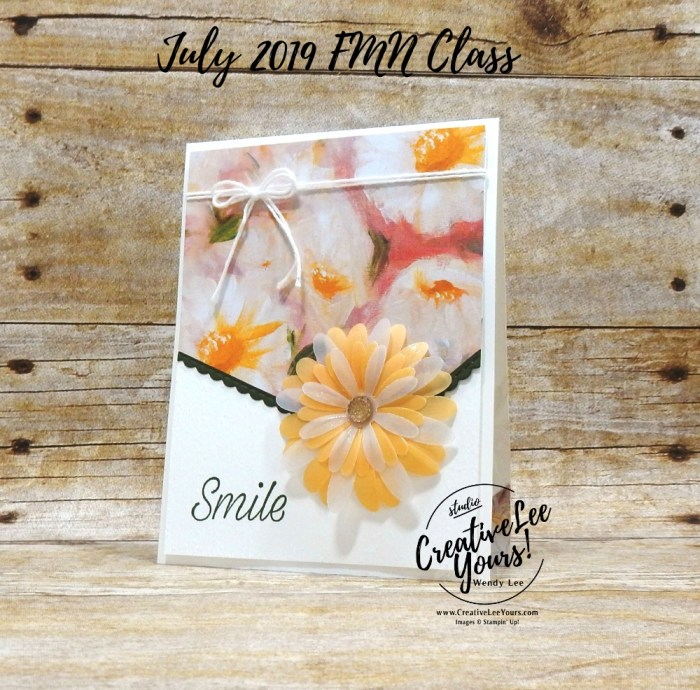 Embossed Daisy by Wendy Lee, Tutorial, card club, stampin Up, SU, #creativeleeyours, hand made card, technique, daisies, friend, birthday, hello, thanks, flowers, celebration, birthday, stamping, creatively yours, creative-lee yours, Daisy Lane stamp set, daisy punch, angle cut, DIY, FMN, forget me knot, July 2019, class, card club, technique, embossing, DSP, Pattern paper
