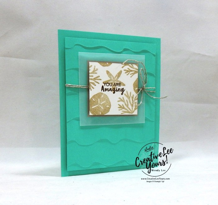 Beach Waves by wendy lee, June 2019 A Little Smile Paper Pumpkin Kit, stampin up, handmade cards, rubber stamps, stamping, kit, subscription, #creativeleeyours, creatively yours, creative-lee yours, birthday, celebration, graduation, anniversary, smile, thank you, amazing, alternate, bonus tutorial, fast & easy, DIY, #simplestamping, palm trees, beach, starfish, sand dollar, card kit, masculine, FMN BONUS
