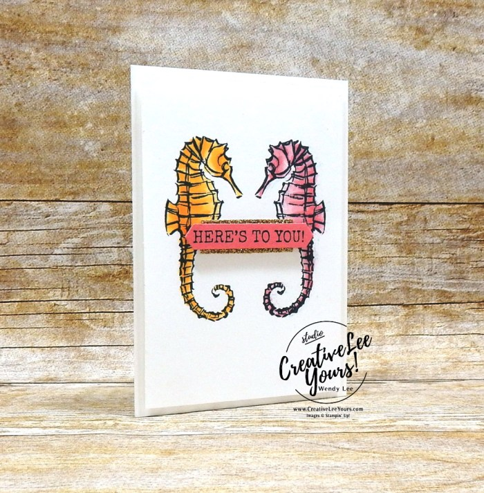 Mirror Image Seahorses by wendy lee, 2019 2020 annual catalog, stampin up, papercrafting, #creativeleeyours, creativelyyours, creative-lee yours, SU, seahorse, beach, summer fun, Greek Isles Achievers Blog Hop, stamping, business opportunity, DIY, fellowship, seaside notions stamp set, rubber stamps, hand made, stamping, tutorial, stamparatus, mirror image, bingo event, coloring with blends